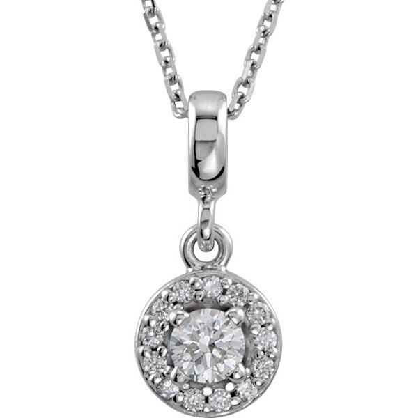Item # S90981W - 14kt white gold, 0.20 ct tw diamond, SI1-2 in clarity and G-H in color, halo necklace. The pendant hangs on an 18