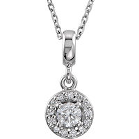 Item # S90981W - 14K White Gold Halo Necklace