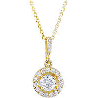 Item # S90982 - 14K Yellow Gold 0.50 Ct TW Halo Pendant