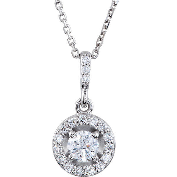 Item # S90982W - 14kt white gold, 0.50 ct tw diamond, SI1-2 in clarity, and G-H in color, halo necklace. The pendant hangs on an 18
