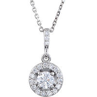 Item # S90982W - 14K  White Gold, 0.50 Ct Tw Halo Pendant
