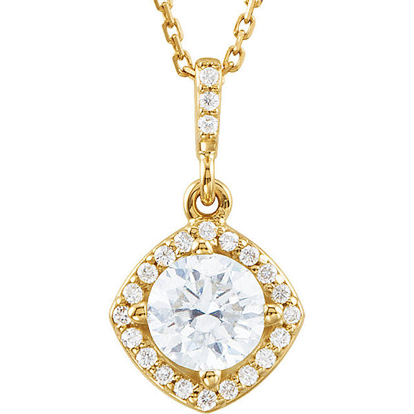 Item # S90984 - 14kt yellow gold, 0.875 ct tw diamond, SI1-2 in clarity and G-H in color, halo necklace. The pendant hangs on an 18
