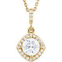 Item # S90984 - 14K Yellow Gold, 0.875 Ct Tw Halo Pendant