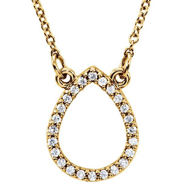 Item # S91543 - 14kt yellow gold, 0.125 ct tw diamond, SI1-2 in clarity and G-H in color, diamond tear drop pendant. The pendant hangs on a 16