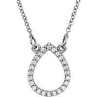 Item # S91543W - 14K White Gold Tear Drop Pendant