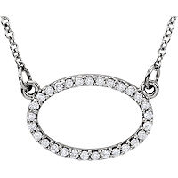 Item # S91545W - 14K White Gold Oval Pendant