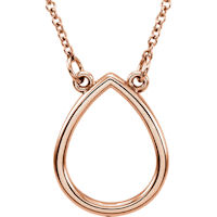 Item # S91546R - 14K Rose Gold Teardrop Necklace