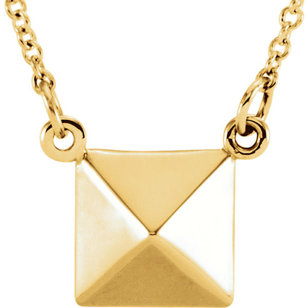 Item # S91553 - 14kt yellow gold, pyramid pendant that hangs on a 16.25