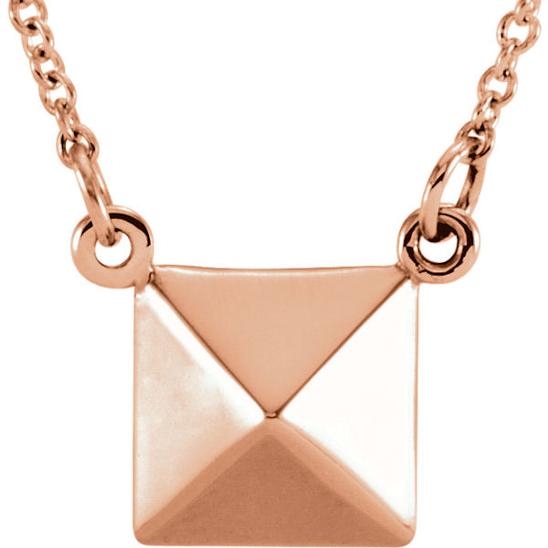 Item # S91553R - 14kt rose gold, pyramid pendant that hangs on a 16.25