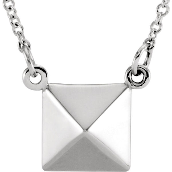 Item # S91553W - 14kt white gold, pyramid pendant that hangs on a 16.25