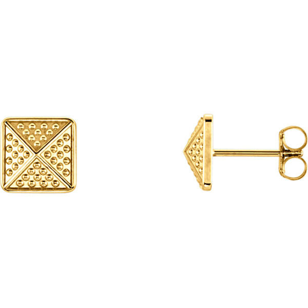 Item # S91565 - 14kt yellow gold, granulated pyramid earrings. The size of the earring is 10x10 mm in size.