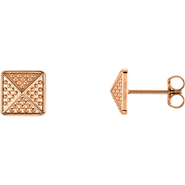 Item # S91565R - 14kt rose gold, granulated pyramid earrings. The size of the earring is 10x10 mm in size.