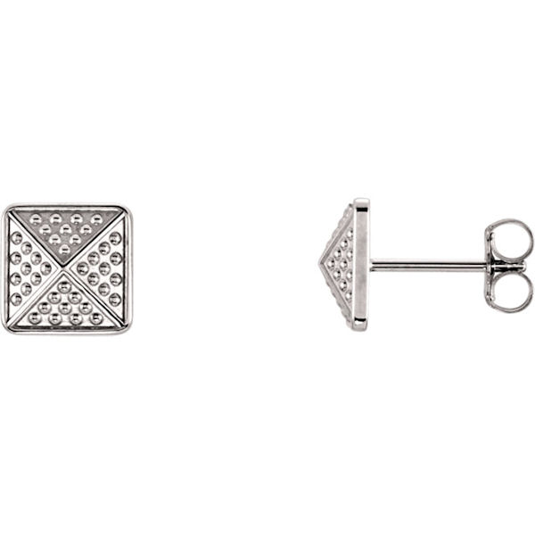 Item # S91565W - 14kt white gold, granulated pyramid earrings. The size of the earring is 10x10 mm in size.