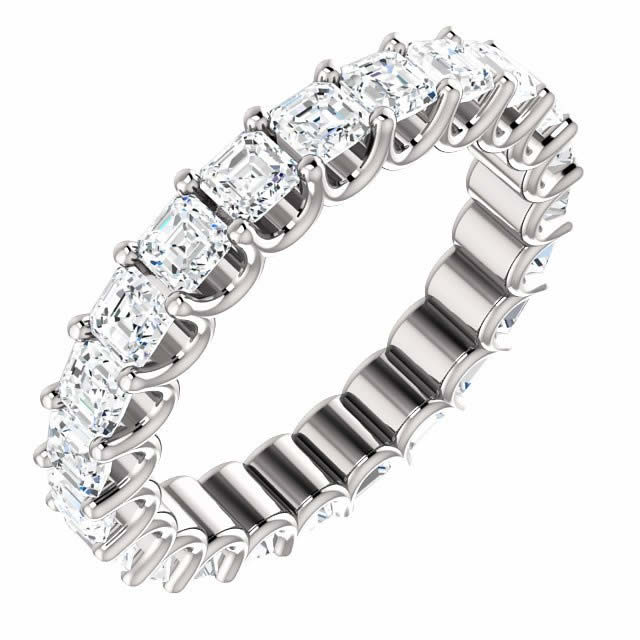 Item # SA128869240PP - Eternal-Love eternity band in platinum. The band holds 24 Asscher cut  brilliant diamonds with total weight of 2.4CT. The diamonds are graded as minimum H in color and VS in clarity.