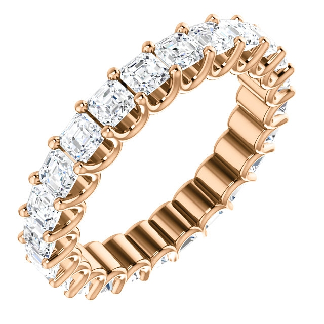 Item # SA128869240R - Eternal-Love eternity band in 14K rose gold. The band holds 24 Asscher cut  brilliant diamonds with total weight of 2.4CT. The diamonds are graded as minimum H in color and VS in clarity.