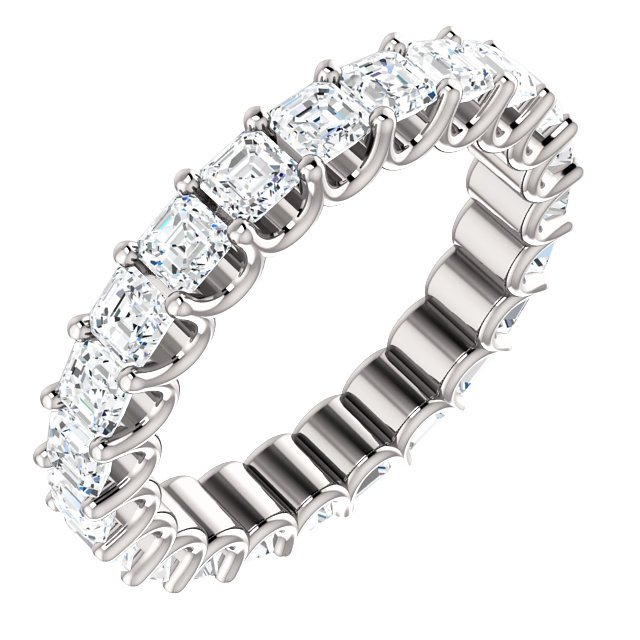 Item # SA128869240WE - Eternal-Love eternity band in 18K white gold. The band holds 24 Asscher cut  brilliant diamonds with total weight of 2.4CT. The diamonds are graded as minimum H in color and VS in clarity.