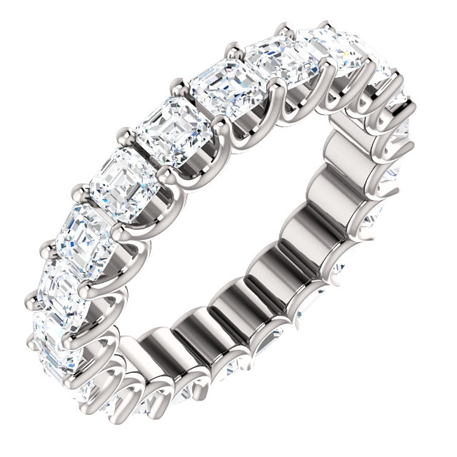 Item # SA128869340PP - Eternal-Love eternity band in platinum. The band holds 21 Asscher cut  brilliant diamonds with total weight of 3.4CT. The diamonds are graded as minimum H in color and VS in clarity.