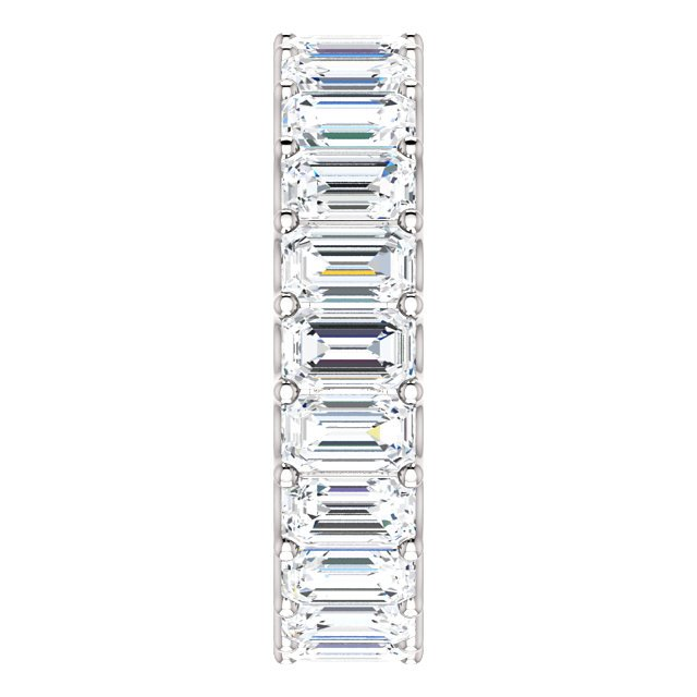 Item # SE128869700PP View 4 - Platinum Emerald Cut Diamond Eternity Band