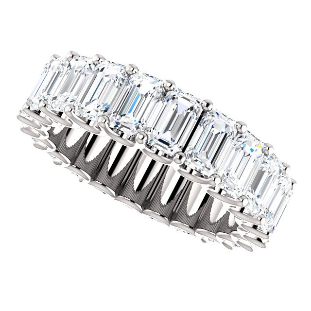 Item # SE128869700PP View 5 - Platinum Emerald Cut Diamond Eternity Band
