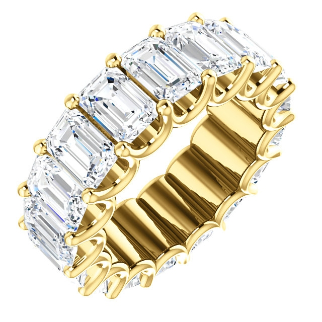 Item # SE128869850E - Eternal-Love eternity band in 18K yellow gold. The band in size 6.0 holds 17 emerald cut matching diamonds eac measuring 6.0X4.0mm and together they weigh 8.5CT. Diamond are graded as minimum VS2 in clarity and minimum H in color