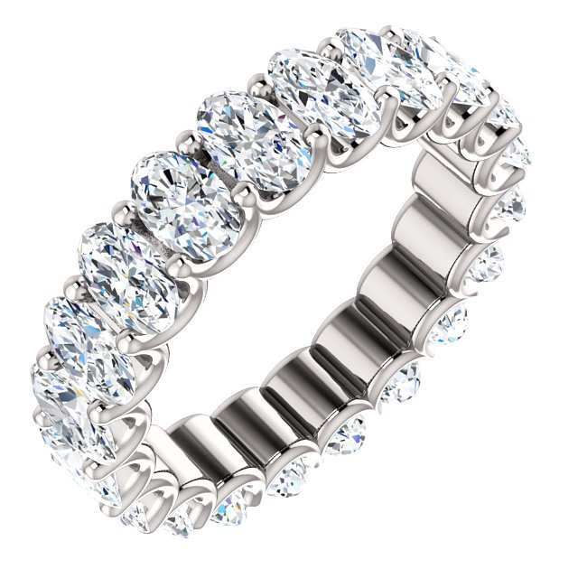 Item # SO128869400PP - Platinum diamond eternity band made with all matching oval shape diamonds. In size 6.0 Diamonds approximate total weight is 4.0ct. Diamonds are graded as VS in clarity G in color..