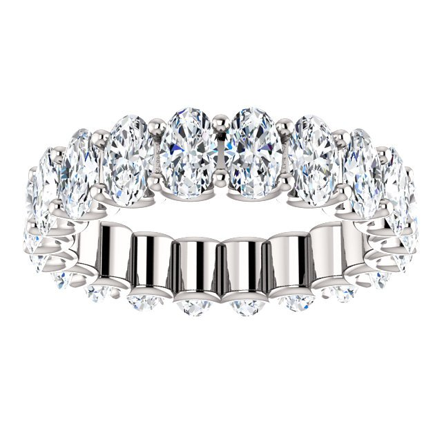 Item # SO128869400PP View 3 - Platinum Oval Shape Diamond Eternity Band