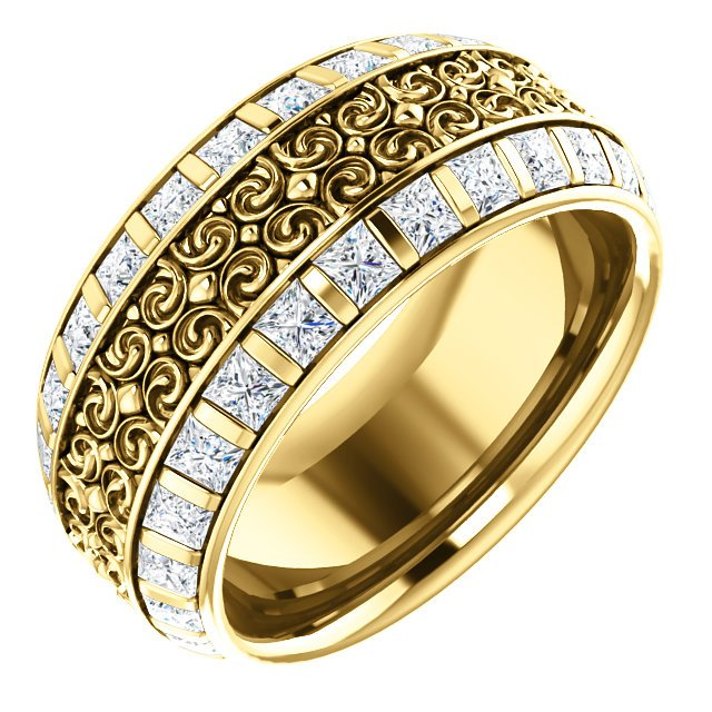 Item # SP128079 - Diamond eternity band made in 14K yellow gold with 52 princess cut brilliant diamonds weighing approximately 2.58ct in size 7. The diamonds are graded as VS in clarity G-H in color.