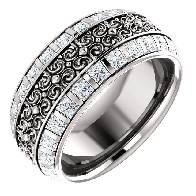 Item # SP128079WE - Diamond eternity band made in 18K white gold with 52 princess cut brilliant diamonds weighing approximately 2.58ct in size 7. The diamonds are graded as VS in clarity G-H in color.