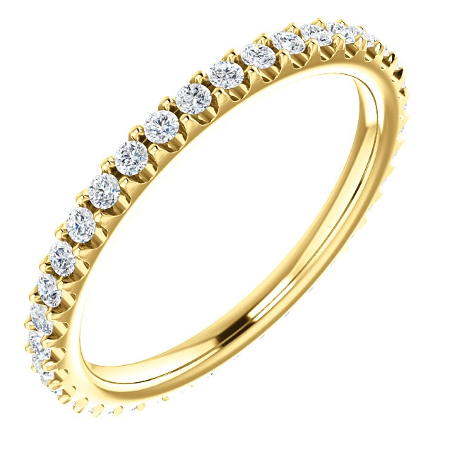 Item # SR127714038 - 14K yellow gold diamond eternity band. The ring in size 6.0 holds approximately 41 round brilliant cut diamonds with total weight of  0.38ct. The diamonds are graded as VS in clarity G-H in color.