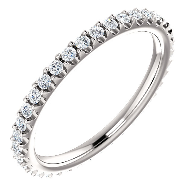 Item # SR127714038PP - Platinum diamond eternity band. The ring in size 6.0 holds approximately 41 round brilliant cut diamonds with total weight of  0.38ct. The diamonds are graded as VS in clarity G-H in color.