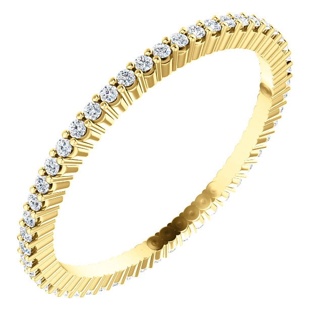 Item # SR127785025 - 14K yellow gold eternity band. The band in size 6.0 holds 51 round brilliant cut diamonds with total weight of approximately 0.38ct. The diamonds are graded as VS in clarity G-H in color.