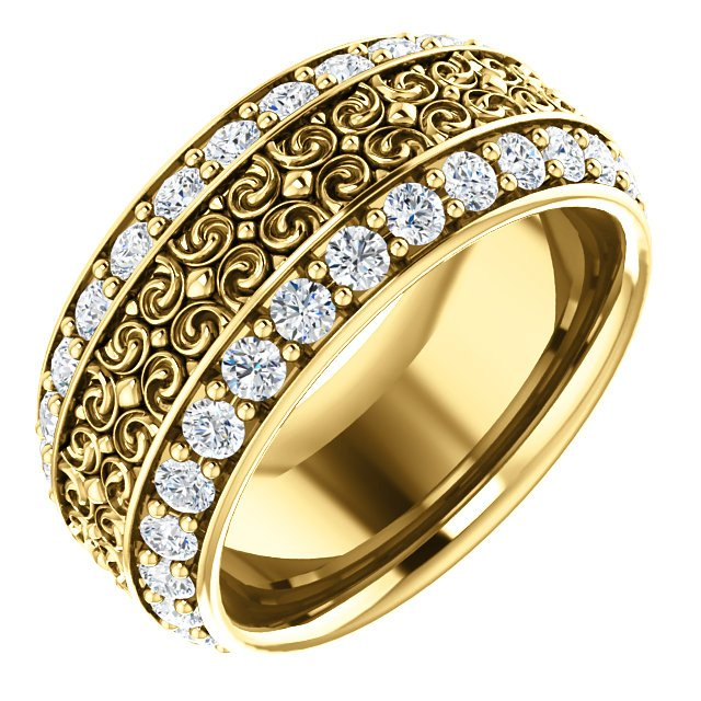 Item # SR128079 - Diamond eternity band made in 14K yellow gold with 56 round cut brilliant diamonds weighing together approximately 1.68ct in size 7. The diamonds are graded as VS in clarity G-H in color.