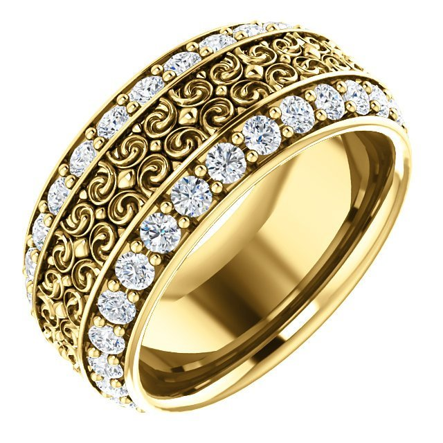 Item # SR128079E - Diamond eternity band made in 18K yellow gold with 56 round cut brilliant diamonds weighing together approximately 1.68ct in size 7. The diamonds are graded as VS in clarity G-H in color.