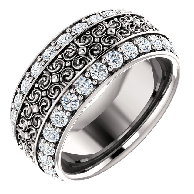 Item # SR128079PP - Diamond eternity band made in platinum  with 56 round cut brilliant diamonds weighing together approximately 1.68ct in size 7. The diamonds are graded as VS in clarity G-H in color.