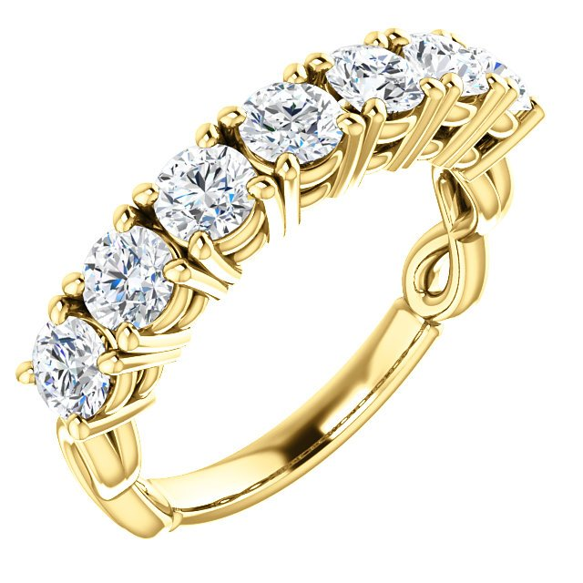 Item # SR128541 - 14K yellow gold 7 diamonds anniversary ring with infinity symbol on the sides. Diamonds together weigh approximately 1.50ct. The diamonds are graded as G-H in color and VS in clarity.
