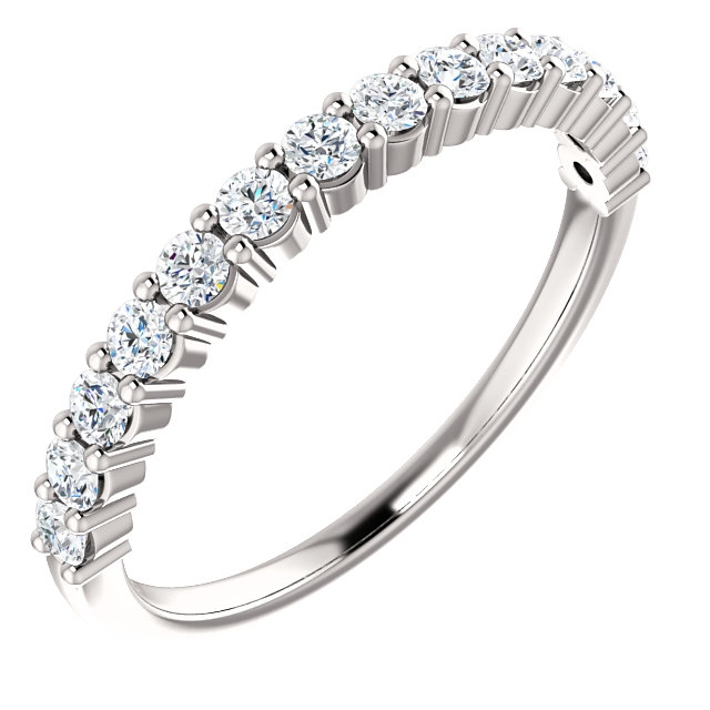 Item # SR128555050WE - 18K white gold, 14 diamonds anniversary band. The diamonds together weigh 0.5ct and are graded as SI1 in clarity G-H in color.