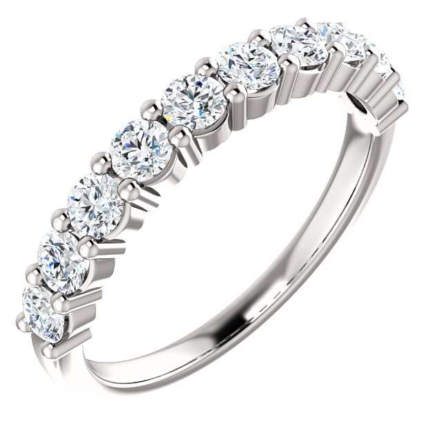 Item # SR128555075WE - 18K white gold, 10 diamonds anniversary band. The diamonds together weigh 0.75ct and are graded as SI1 in clarity G-H in color.
