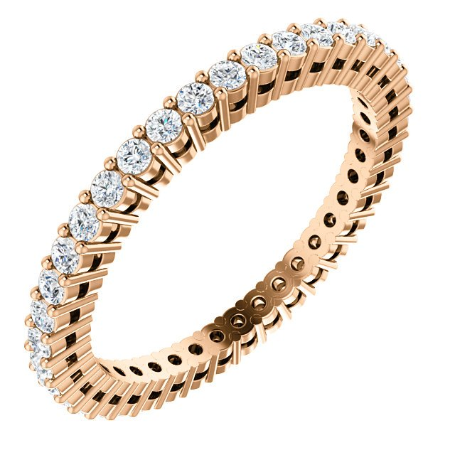 Item # SR128658050R - 14K Rose gold diamond eternity band. the ring in size  6.0 holds approximately 39 round brilliant cut diamonds with total weight of  0.50ct. The diamonds are graded as SI in clarity G-H in color.