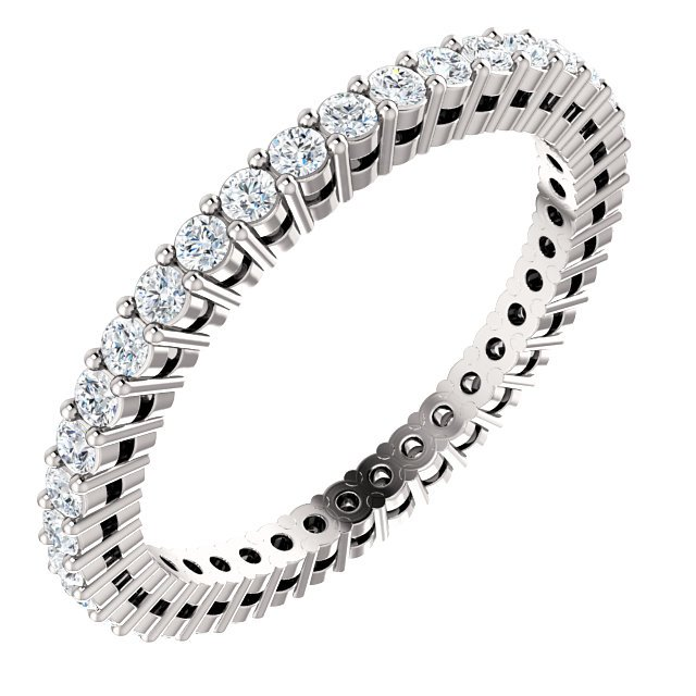 Item # SR128658050W - 14K white gold diamond eternity band. the ring in size  6.0 holds approximately 39 round brilliant cut diamonds with total weight of  0.50ct. The diamonds are graded as SI in clarity G-H in color.