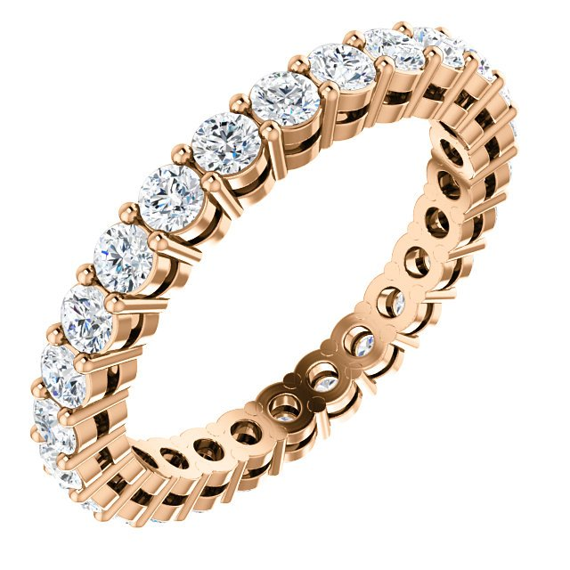Item # SR128658100R - 14K rose gold diamond eternity band. The ring in size 6.0 holds approximately 26 round brilliant cut diamonds with total weight of  1.0ct. The diamonds are graded as VS in clarity G-H in color.