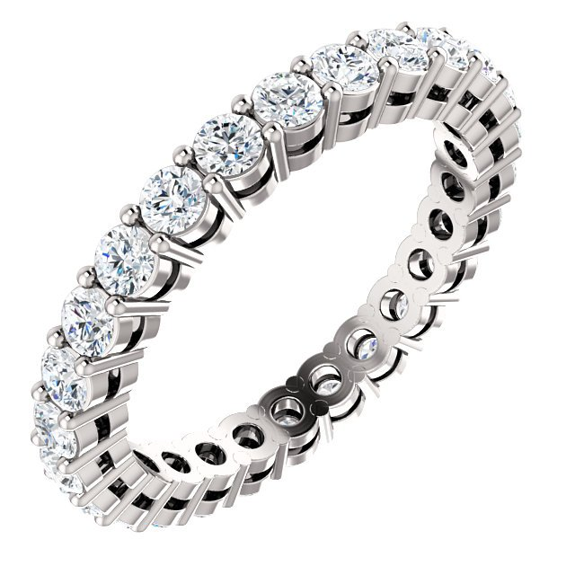Item # SR128658100WE - 18K white gold diamond eternity band. The ring in size 6.0 holds approximately 26 round brilliant cut diamonds with total weight of  1.0ct. The diamonds are graded as VS in clarity G-H in color.