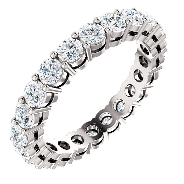Item # SR128658175PP - Platinum diamond eternity band. The ring holds 22 round brilliant cut diamonds with total weight of approximately 1.75ct. The diamonds are graded as VS in clarity G-H in color.