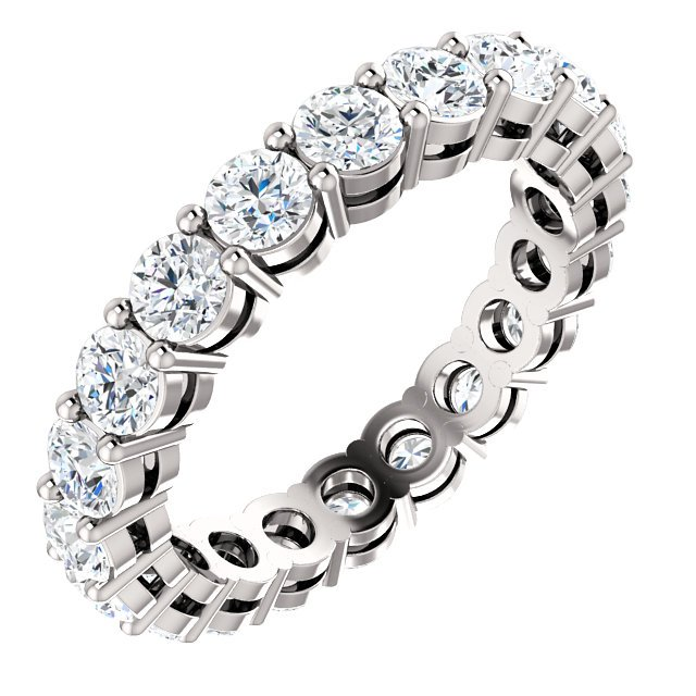 Item # SR128658200W - 14K white gold eternity band. The band holds 20 round brilliant cut diamonds each measuring 3.0mm and together they weigh approximately 2.0ct.  in size 6.0. The diamonds are graded as VS in clarity G-H in color.