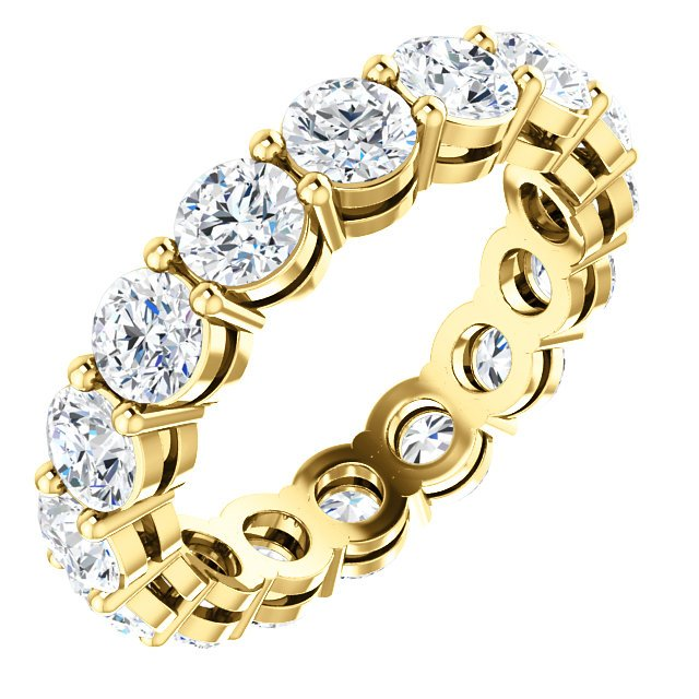 Item # SR128658350E - 18K yellow gold diamond eternity band. The ring holds 16 round brilliant cut diamonds with total weight of approximately 3.50ct. The diamonds are graded as VS in clarity G in color.
