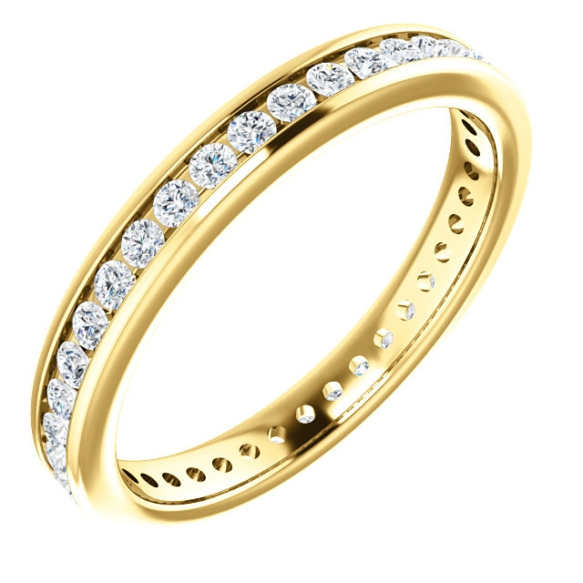 Item # SR128774050 - 14Kt yellow gold eternity ring. The diamonds are approximately 0.50ct tw in size 6.0, SI in clarity G-H in color. The diamonds are channel set.