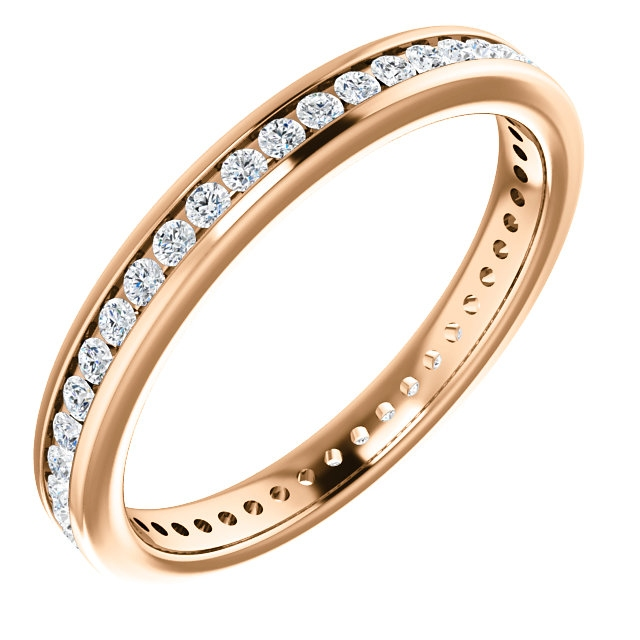 Item # SR128774050R - 14Kt rose gold eternity ring. The diamonds are approximately 0.50ct tw in size 6.0, SI in clarity G-H in color. The diamonds are channel set.