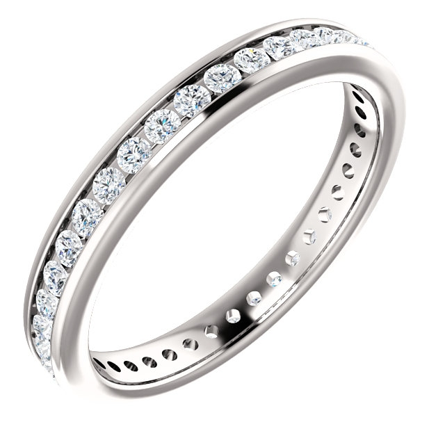 Item # SR128774050W - 14Kt White gold eternity ring. The ring holds 46 round brilliant cut diamonds, each measures 1.4 mm. The diamonds are approximately 0.50ct tw in size 6.0, SI in clarity, very clean and G-H in color. The diamonds are channel set.