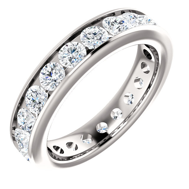 Item # SR128774210PP - Platinum eternity ring. The ring holds 21 round brilliant cut diamonds, each measures 3.0 mm. The diamonds are approximately 2.10 ct tw, VS1-2 in clarity, very clean and G-H in color, near colorless to colorless. The diamonds are channel set. There may be more diamonds in larger ring sizes. The band is about 4.3mm wide. The finish is polished. Different finishes may be selected.