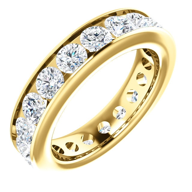 Item # SR128774285E - 18K yellow gold eternity band. The ring holds 19 round brilliant cut diamonds, each measures 3.5 mm. The diamonds total weight is approximately 2.85 ct, in size 6.0. VS1-2 in clarity, very clean and G-H in color, near colorless to colorless. The diamonds are channel set. There may be more diamonds in larger ring sizes. The band is about 4.8mm wide.