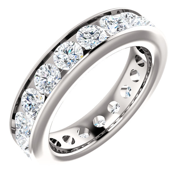 Item # SR128774285PP - Platinum eternity ring. The ring holds 19 round brilliant cut diamonds, each measures 3.5 mm. The diamonds total weight is approximately 2.85 ct, in size 6.0. VS1-2 in clarity, very clean and G-H in color, near colorless to colorless. The diamonds are channel set. There may be more diamonds in larger ring sizes. The band is about 4.8mm wide.